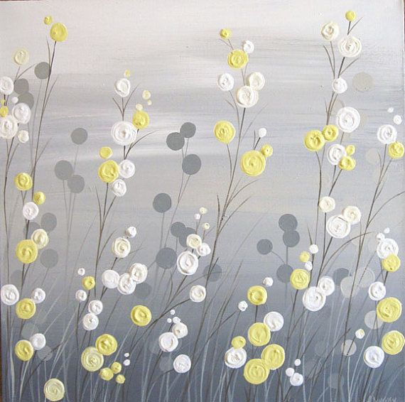 Wall Art, Yellow Grey Whimsical Flower Field, Textured Acrylic Painting on Canvas, MADE TO ORDER
