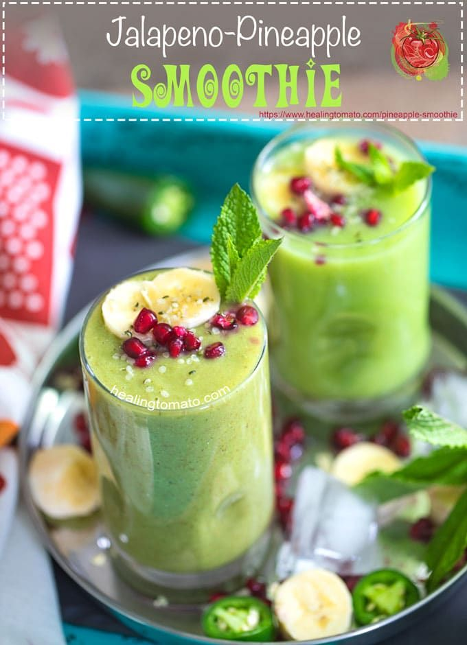 Pineapple Smoothie Recipe made with Jalapeno. A vegan protein smoothie recipe with a little kick! Its the perfect afternoon snack that will clear your sinuses and bring back your energy. Protein smoothie recipes don't have to be boring. #vegan #proteinrecipes #veganfood #smoothies #recipes #jalapeno #veganprotein #healthy #healthysmoothies Green Smoothie Recipes, Healthy Green Smoothies