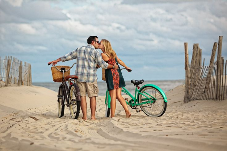 This was one of our (LoRusso Studios) favorite beach engagement sessions.  The couple had two old bikes that just made this shot so endearing and authentic.  Shot at Long Beach Island in New Jersey.  See full blog post at http://lorussostudios.com/beach-engagement-lavallette/
