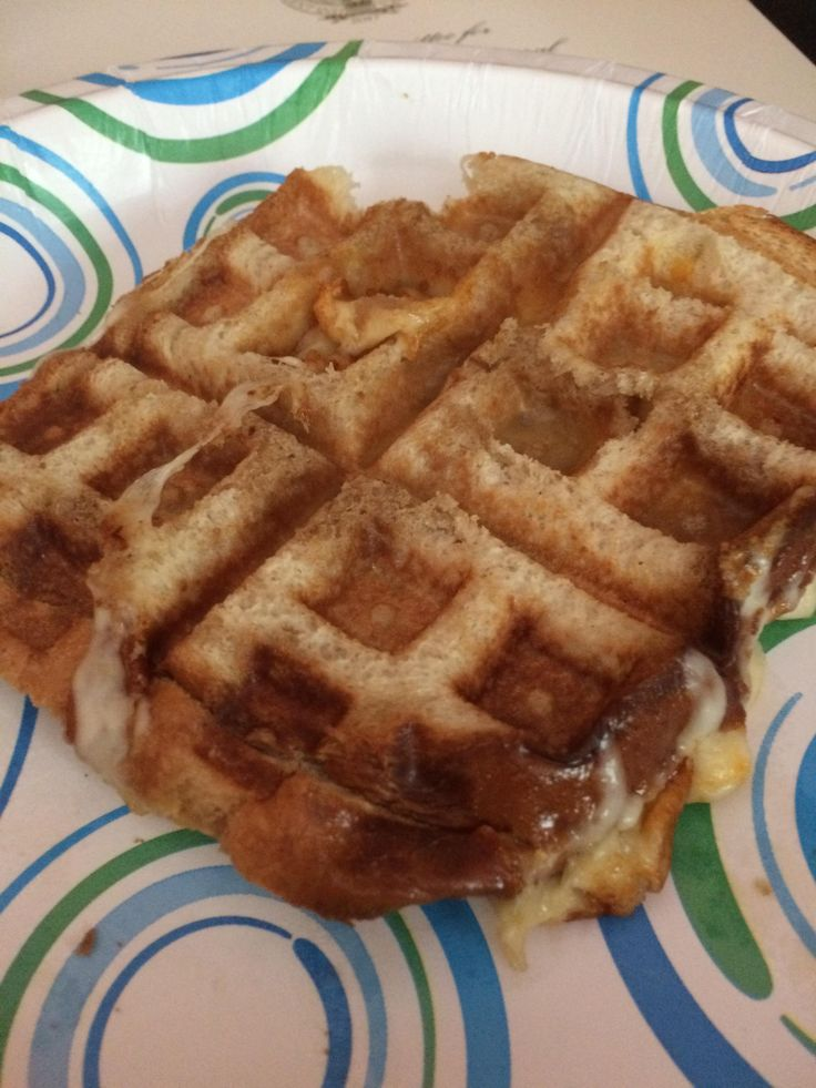 Waffle-cooked bread with Munster and provolone #grilledcheese #food #yum #foodporn #cheese #sandwich #recipe #lunch #foodie