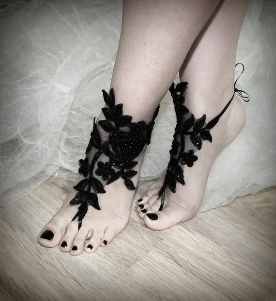 free ship ---- bridal anklet, black flower, Beach wedding barefoot sandals, bangle, wedding anklet, anklet, bridal, bellydance, gothic