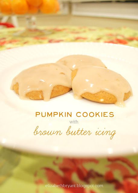 lizzy writes: pumpkin cookies with brown butter icing