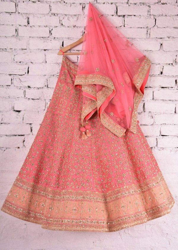 Baby Pink Raw Silk Bridal Lehenga   VS26051604   Vasansi Jaipur