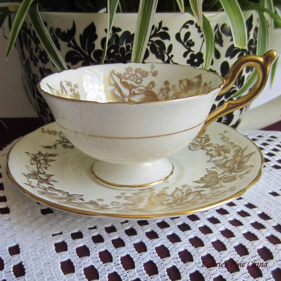 Coalport Gold Flowers, Orchids and Leaves on White Bone China Cup and Saucer