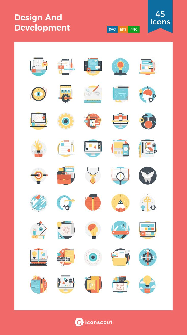 Design And Development  Icon Pack - 45 Flat Icons