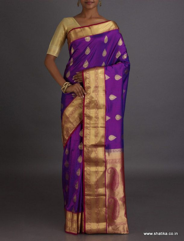 Riddhi Broad Gold Border And Big Bootis #BangaloreSilkSaree