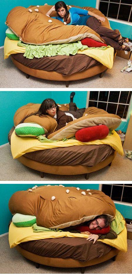 Hamburger Bed. To match my hamburger phone?!