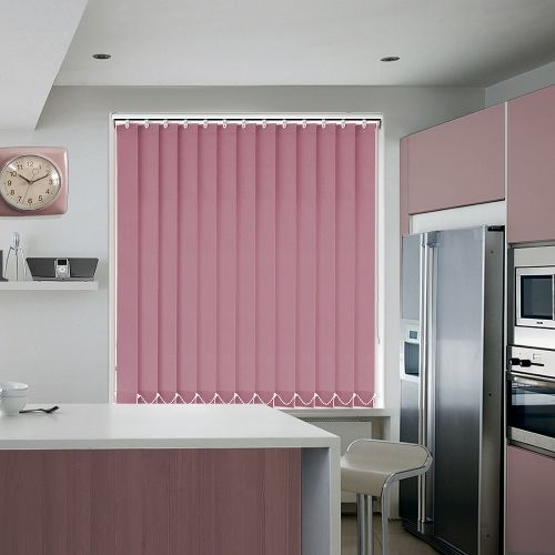 A plain dusky pink vertical blind fabric available in an 89mm louvre width.