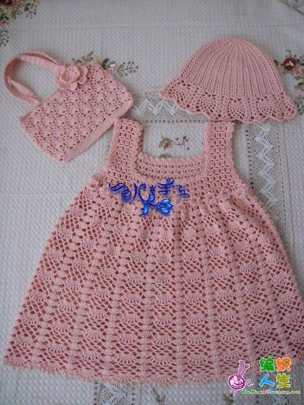 Pink Dress, Hat, And Bag - Free Crochet Diagram - (modeles-bebe-crochet.overblog)