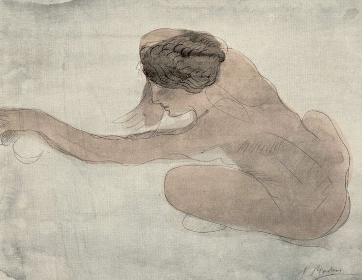 Stieglitz, one of his many images of Georgia O'Keeffe and one of Rodin's watercolors