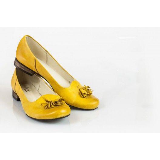 Női bőr balerina sárga DT034 - manozo.hu