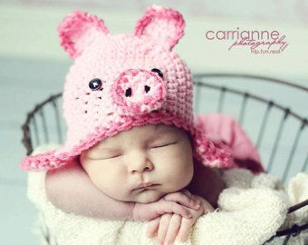 Pig Hat CROCHET PATTERN (All sizes included) Instant Download