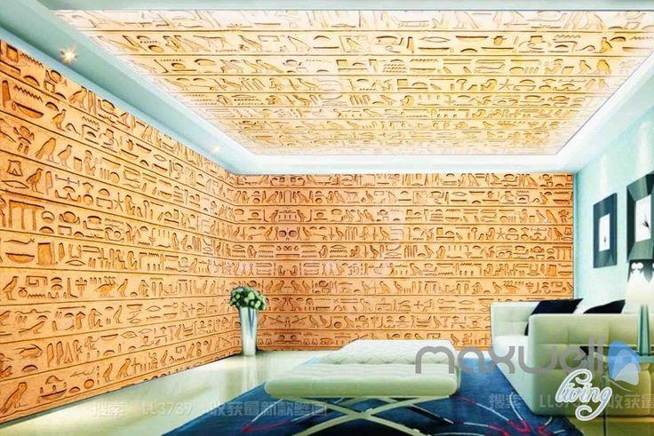 25 best ideas about 3d wall murals on pinterest wall for Egyptian mural wallpaper