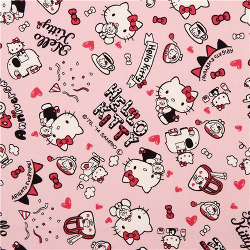 pink Hello Kitty oxford fabric party heart elephant by Sanrio from Japan