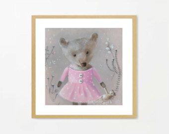 Roze kinderkamer kunst Teddy Bear Print Baby Girl door inameliart