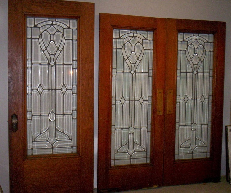 Set of 3 antique oak all beveled leaded glass doors for All glass french doors