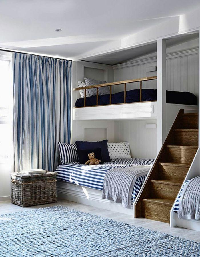 chambre mezzanine, chambre d\'enfants en style marin, panier de ...