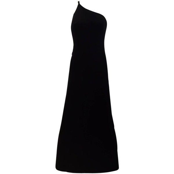 Preowned 90s Giorgio Armani Black Silk Asymetrical Dress ($1,500) ❤ liked on Polyvore featuring dresses, black, evening gowns, preowned dresses, pre owned dresses, giorgio armani, silk dress and asymmetrical neck dress
