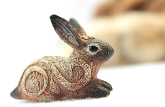 rabbit totem | Rabbit Hare Bunny Totem Animal Figurine Fantasy Skulpture Guardian ...