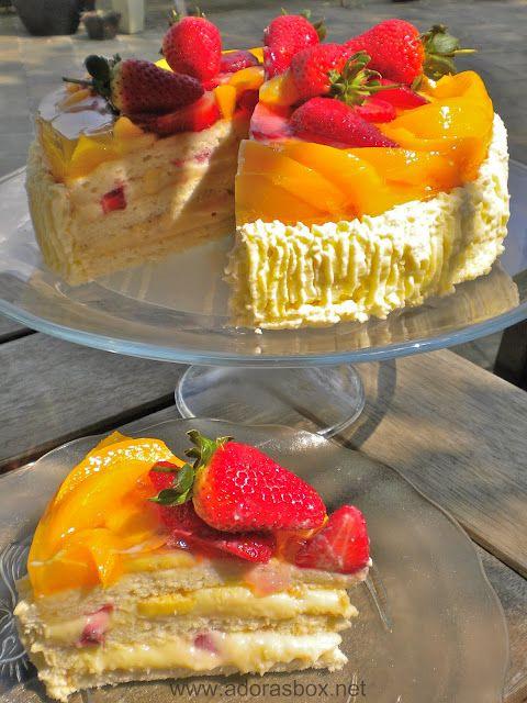 Crema De Fruta Gateau - A Filipino trifle consisting of a sponge cake base, custard , fruits and gelatine.