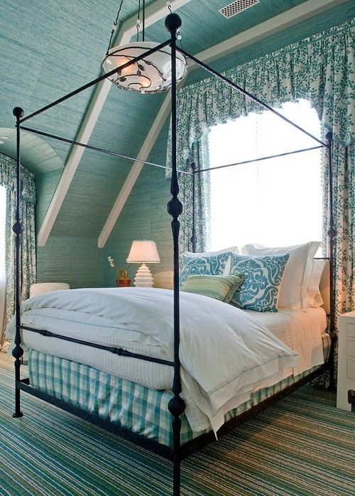 blue painted planks...beautiful ceiling and poster bed...the blue is perfect!
