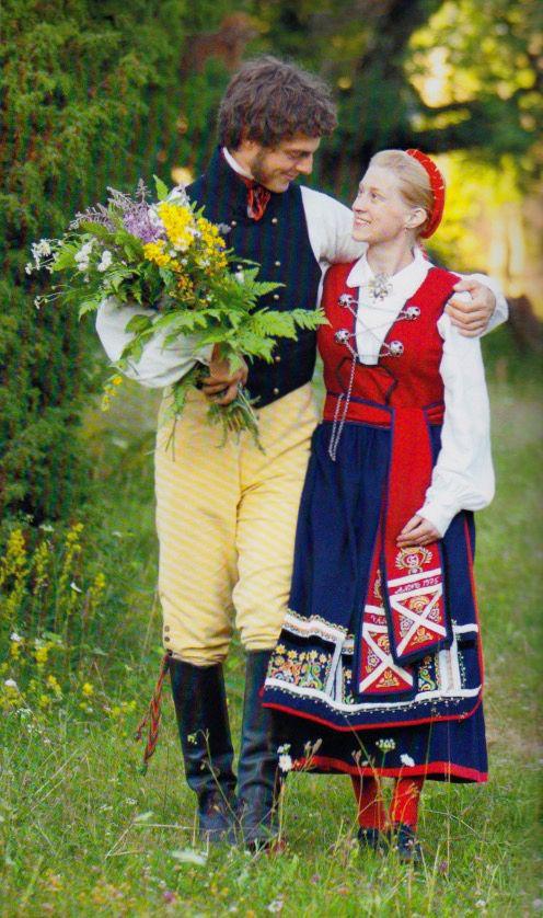 """Swedish folklore   Värendsdräkt från södra Sverige   Dräkten är relativt ny i snitt och färg. Till livstycket bärs förklädet och livbandet, den sk brudlisten, som är en kvarleva från den gammla folkdärkten   (""""Skandianvian Folklore III"""", Laila Durán, 2013)"""