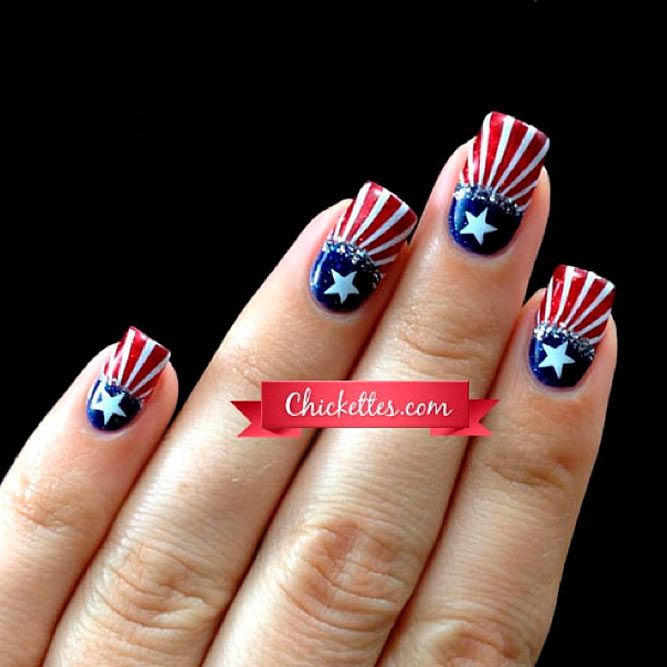 Totally Cool Nail Designs for 4th of July Fun ★ See more: https://naildesignsjournal.com/cool-nail-designs-fourth-july/ #nails