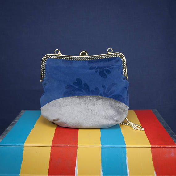 """CLOUDY SKY"" a bag by °Lily Wallace INDEPENDENT LABEL° www.lilywallace.com  Mini Boho Velvet Bag Striped Velvet Purses Vintage Gifts"
