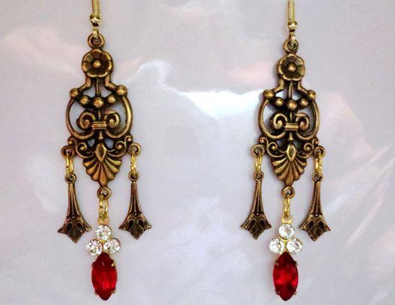 Jugendstil roten Kristall Tropfen Ohrringe von BrightEchoVintage