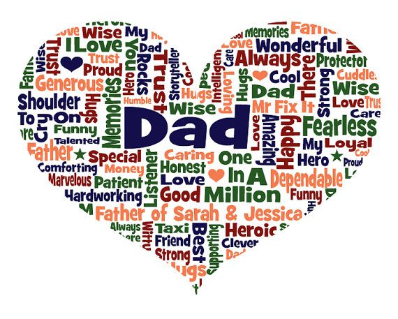 Personalised Dad Daddy Father Heart Shaped Word Cloud