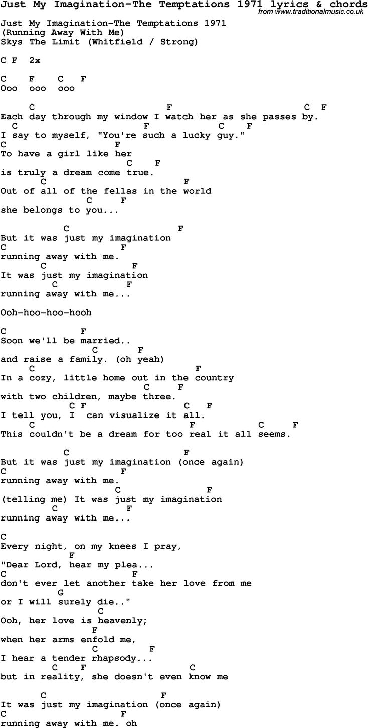 610 best guitar images on pinterest books music and charts love song lyrics for just my imagination the temptations 1971 with chords for ukulele hexwebz Images