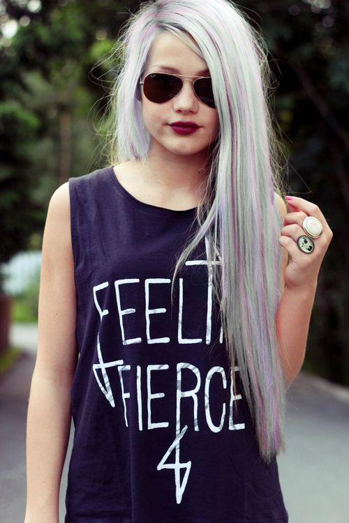 long platinum blonde hair with pastel green and purple streaks shirt that says feeling fierce grunge style