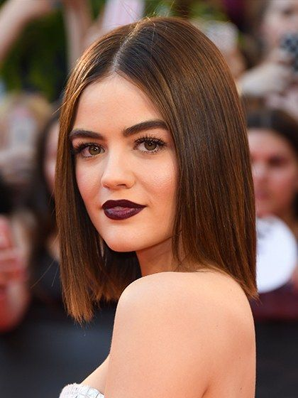 7 Hair and Makeup Looks to Try This Week: Lucy Hale's dark plum lipstick | Allure.com