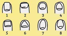 Olha para as tuas mãos e vê com qual das imagens abaixo a tua unha do dedo indicador se parece. Normalmente as unhas de todos os dedos são parecidas, mas, para evitar confusão, escolhe apenas a do indicador. Claro que o formato das unhas também varia em função da manicure, mas as unhas sempre têm um formato natural. Mesmo se elas estão compridas, sabes como seriam se estivessem curtas.