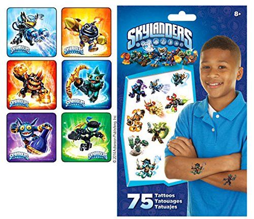 Skylanders Swap Force Party Supply Favor Pack of 90 Stickers with 75 Skylanders Temporary Kids Tattoos Activision http://www.amazon.com/dp/B00LZV6CJG/ref=cm_sw_r_pi_dp_uEThub0WVAXSE