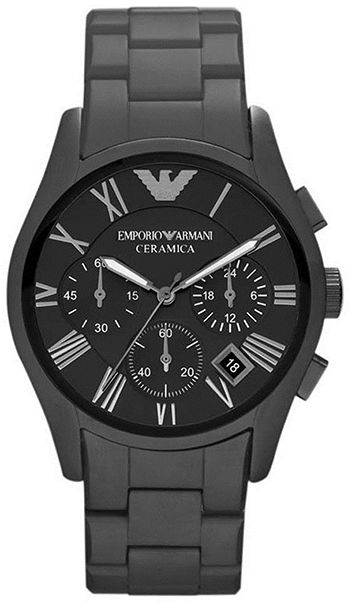 Montre Armani Ceramica AR1457 Homme - Emporio Armani - Quartz - Chronographe - Cadran et Bracelet en Ceramique Noir - Date