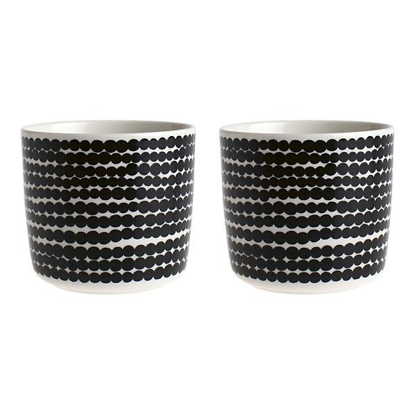 Marimekko Siirtolapuutarha Räsymatto Black and White Mugs without Handles Set of Two, $32