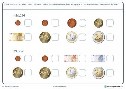 Ficha de calcular con dinero para primaria