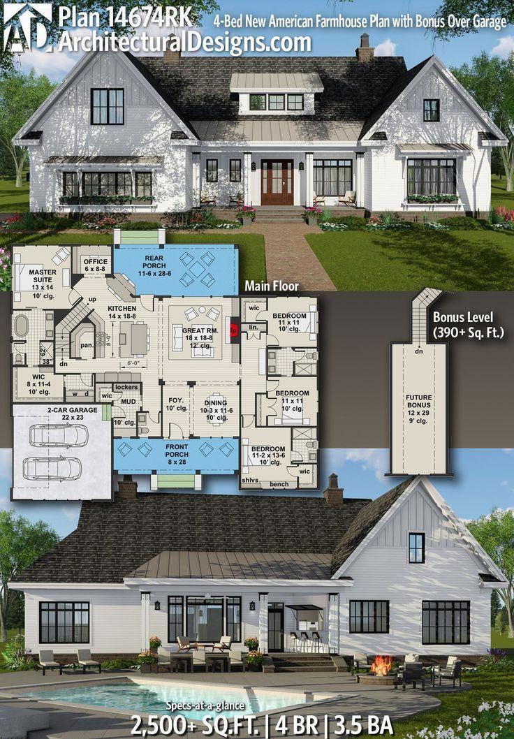 Plan 14674RK: 4-Bett New American Farmhouse Plan mit Bonus über Garage, #14674RK #4Bett #Ame…
