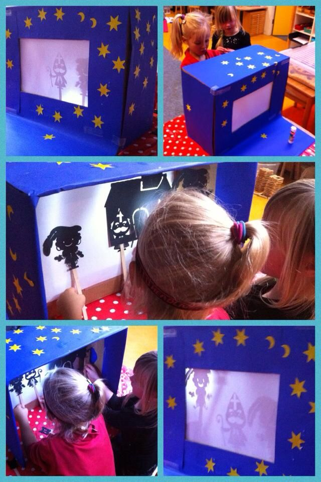Schimmentheater van een bananendoos met tekenpapier. Lampje op het hoofd en spelen maar. uit de groep: https://www.facebook.com/groups/208490379284545/ Kleuteronderwijs met hart en ziel