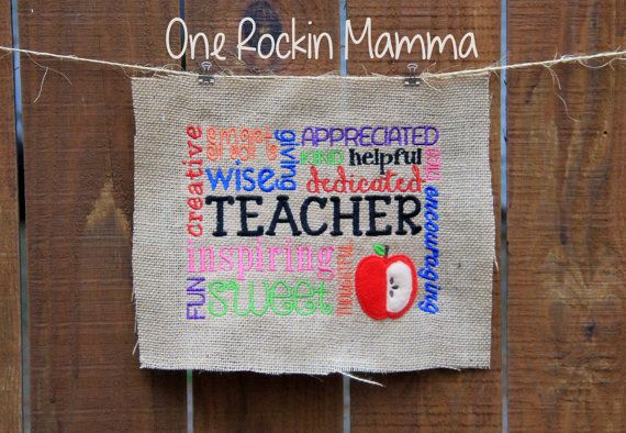 Any custom font ( teachers names) shown on this design IS NOT INCLUDED! This file includes blank and teacher files. In this listing you will receive the following design in 5x7 ( for 5x7 hoop or larger ) , 6x10 and 8x10 ( for an 8x12 or larger hoop) sizing. The design sizes are