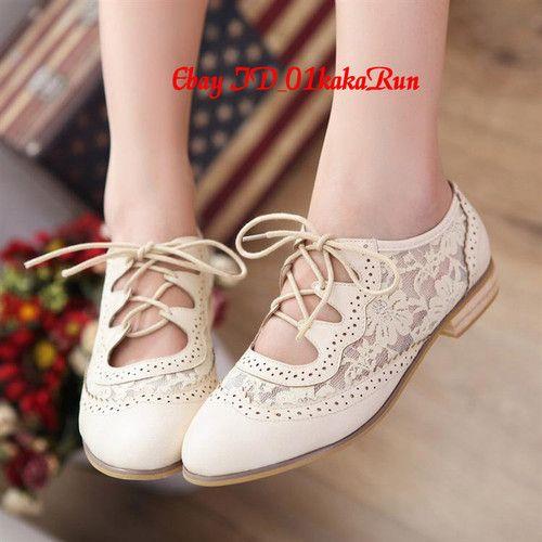 Womens Shoes Platform Wedge Med Heels Lace Up Creeper Flats Oxfords US 5 US 9 | eBay