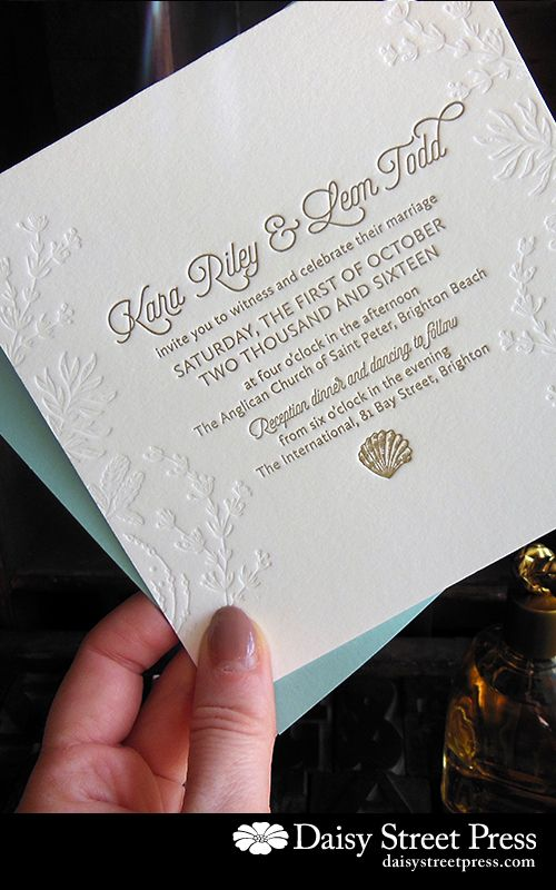 One of my favourites – Calypso design for a beachy or destination wedding. Antique Gold and blind deboss (no ink).