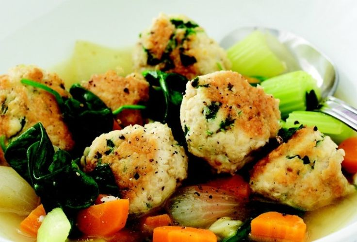"""This was inspired by a recipe for Italian wedding soup in my new book Quick & Kosher: Meals in Minutes. I have pulled back on the liquid to make this more of a stew rather than soup and swapped the traditional red meat for ground chicken """"meatballs."""" Abracadabra! It turned into a light entrée that eats like a meal. It's perfect for a yuntif evening seudah."""