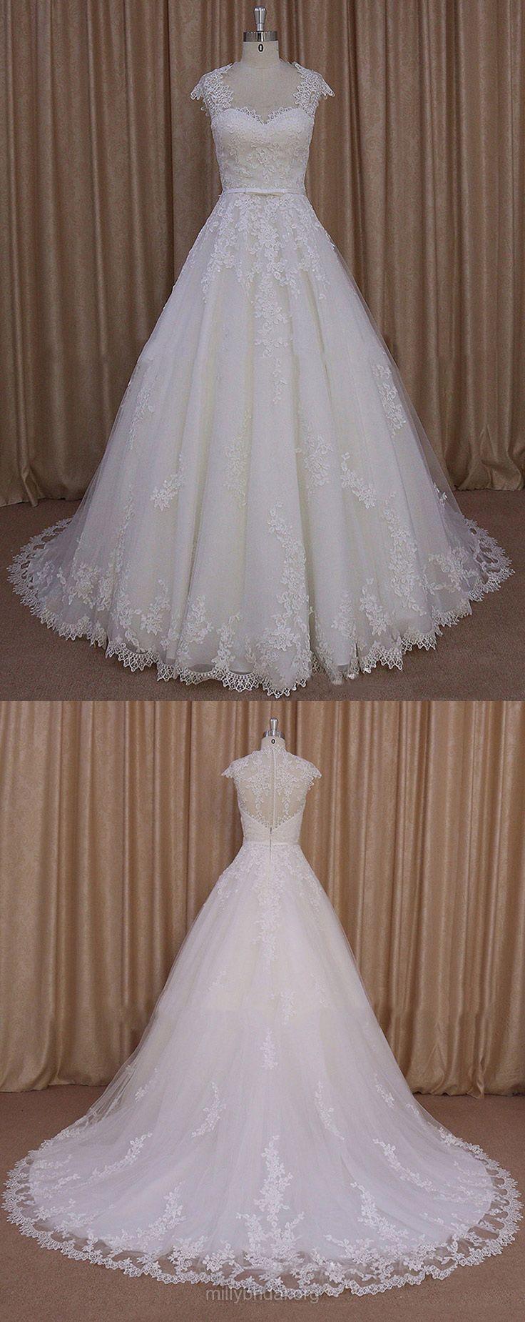 Sweetheart Wedding Dresses Ivory, Tulle Cap Straps Wedding Dress Lace, Court Train Simple Wedding Dresses Modest