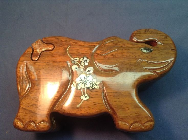 VTG Puzzle Jewelry Trinket Box Elephant with Inlayed Abalone Shell Hand Carved