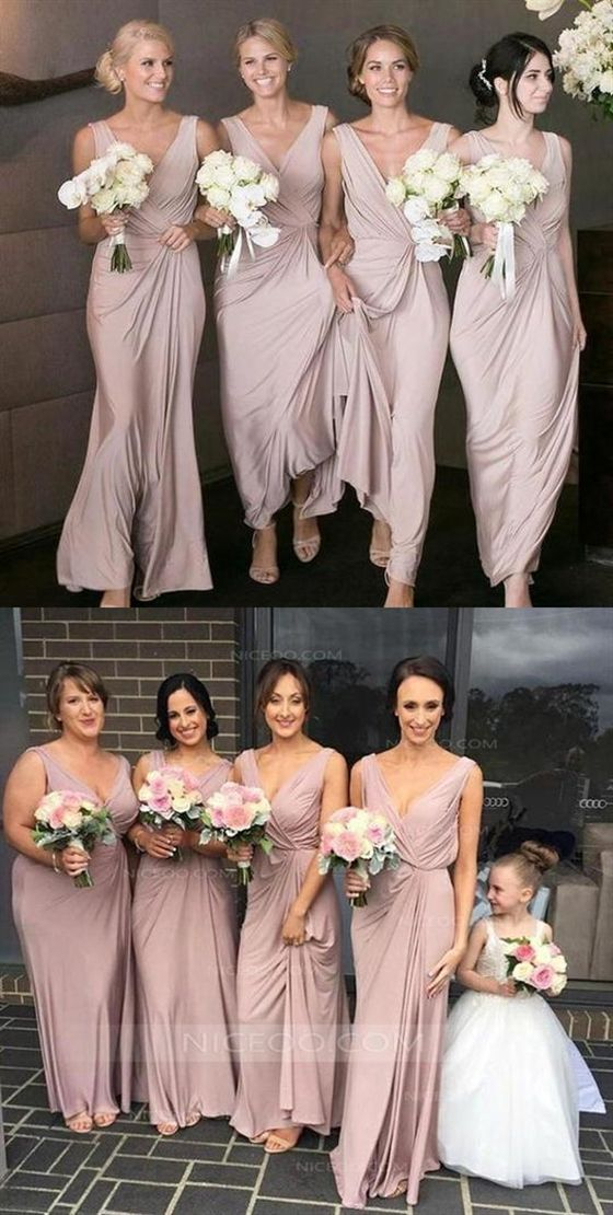 Elegant Blush Pink Strap V Neck Empire Waist Satin Bridesmaid Dresses Evening Dresses
