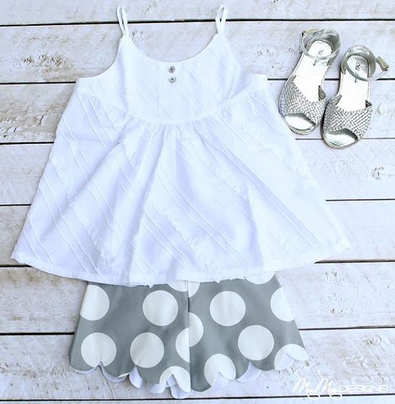 Scallop Shorts... Gray and White Polka Dot... Girls Clothing... Toddler... Girl... by Dogwood Lane