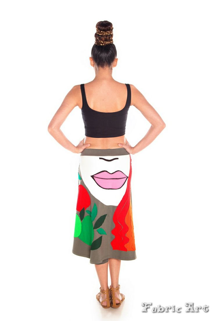"Midi skirt with leggings inside and handmade applique ""Woman and Apples"""