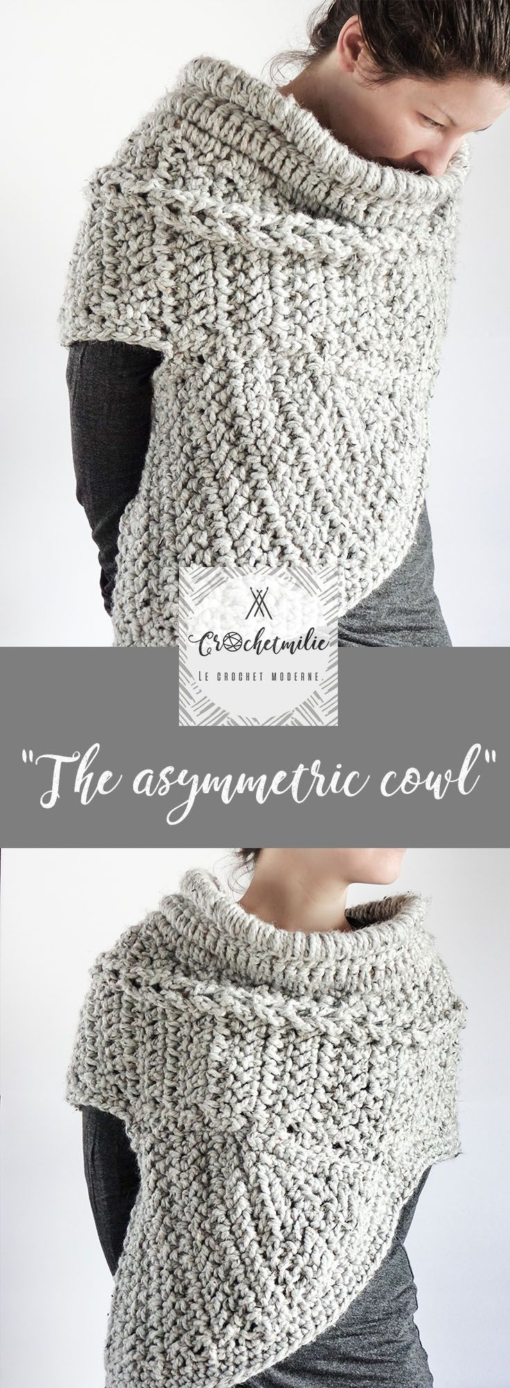 The asymmetric cowl by CROCHETMILIE   - - - - chunky yarn, winter style, fall style, hunger game, katniss cowl, huntress, chic scarf, unique top, walking in the woods, wool love, warm, cozy